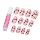 Art Design Hello Kitty Decorative False Nail Tips - Pink (12-Piece)