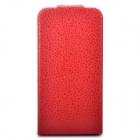 Protective PU Leather Cover Plastic Back Case for iPhone 4 / 4S - Red
