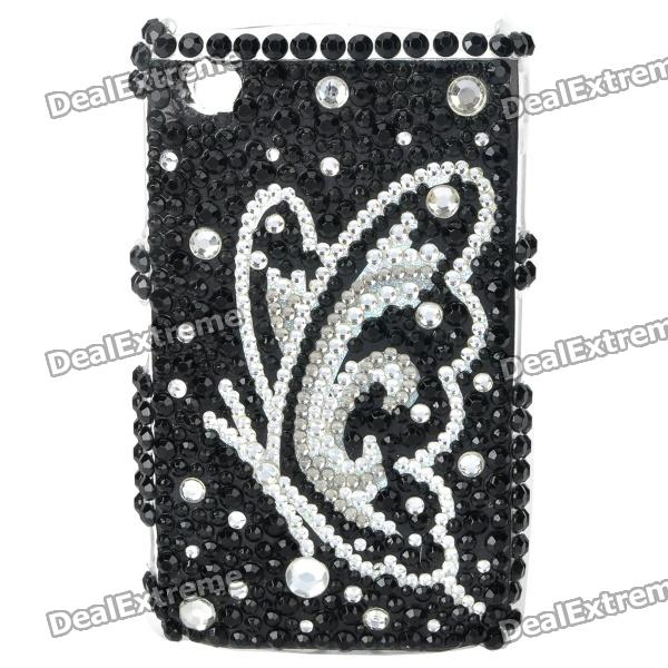 Acrylic Diamond Butterfly Pattern Plastic Back Case for BlackBerry 8520 / 8530 - Silver + Black fashion butterfly pattern acrylic diamond protective case for blackberry 8520 8530 silver blue