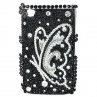 Acrylic Diamond Butterfly Pattern Plastic Back Case for BlackBerry 8520 / 8530 - Silver + Black