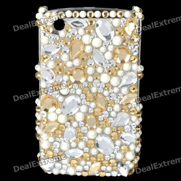 Acrylic Diamond Plastic Back Case for BlackBerry 8520 / 8530 - Silver + Golden + White fashion butterfly pattern acrylic diamond protective case for blackberry 8520 8530 silver blue