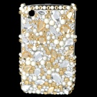 Acrylic Diamond Plastic Back Case for BlackBerry 8520 / 8530 - Silver + Golden + White