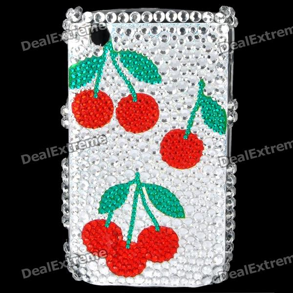 Cherry Pattern Acrylic Diamond Plastic Back Case for BlackBerry 8520 / 8530 - Silver + Red + Green fashion butterfly pattern acrylic diamond protective case for blackberry 8520 8530 silver blue