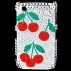 Cherry Pattern Acrylic Diamond Plastic Back Case for BlackBerry 8520 / 8530 - Silver + Red + Green