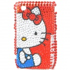 Acrylic Diamond Hello Kitty Pattern Plastic Back Case for BlackBerry 8520 / 8530 - Silver + Red