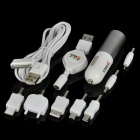 OSJ USB Car Charger w/ Adapters for Cell Phone + More - White (DC 12~24V)
