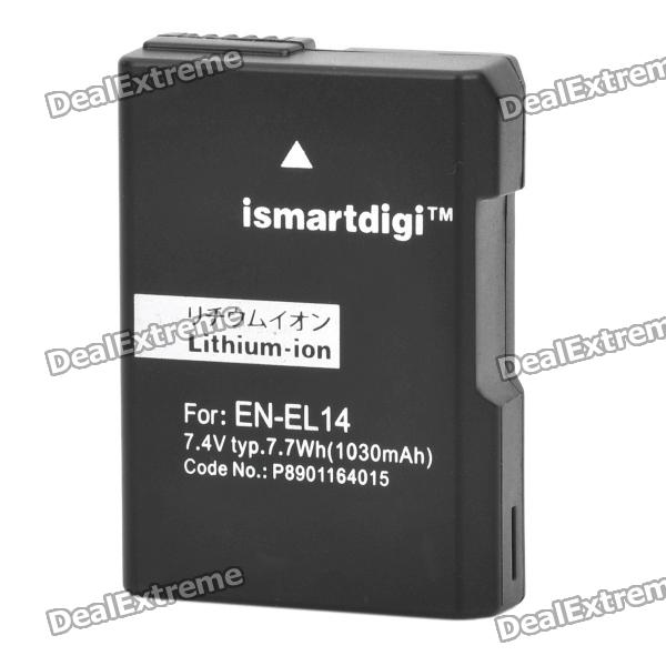Genuine iSmart Digi Replacement 7.1V 1030mAh EN-EL14 Digital Battery Pack for Nikon CoolPix P7000 dste dc111 en el14 battery charger for nikon d3200 d5200 d5300 df p7700 p7800 more slr cameras