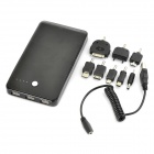 Rechargeable 10000mAh Emergency Mobile Power Battery Pack with 8 Adapters - Black