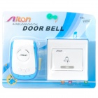 2W 38-Melody 433MHz Wireless Doorbell Transmitter/Receiver Set - White + Blue (1 x 23A 12V/AC 220V)