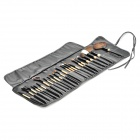 Portable Cosmetic Makeup Brush Set with Carrying Storage Bag - Wood Color (24-Piece Pack)