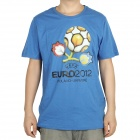 UEFA Euro 2012 Logo Image Pattern Short Sleeves Cotton T-Shirt for Men - Blue (Size L)