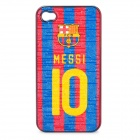 FCB Messi #10 Pattern Protective ABS Back Case for iPhone 4 / 4S - Blue + Red