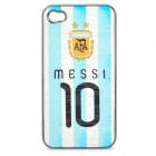 AFA Messi #10 Pattern Protective ABS Back Case for iPhone 4 / 4S -White + Blue