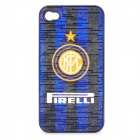 Protective ABS Back Case with Football Team Inter Milan Logo for iPhone 4 / 4S - Blue + Black