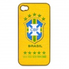 Brazil National Football Team Badge Protective ABS Back Case for iPhone 4 / 4S - Yellow + Green