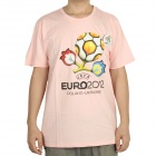 UEFA Euro 2012 Poland-Ukraine Official Logo Short Sleeves Cotton T-Shirt - Pink (Size L)