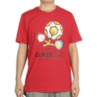 UEFA Euro 2012 Poland-Ukraine Official Logo Short Sleeves Cotton T-Shirt - Red (Size XL)