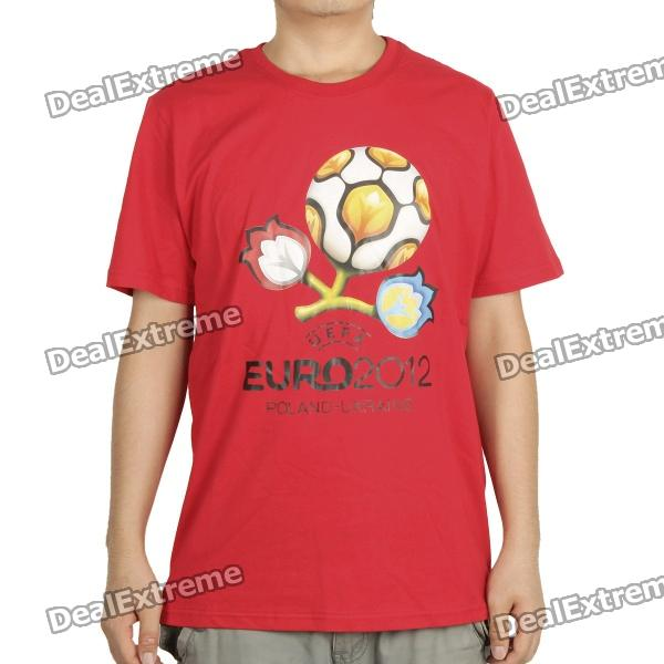 UEFA Euro 2012 Poland-Ukraine Official Logo Short Sleeves Cotton T-Shirt - Red (Size XXL)