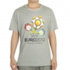 UEFA Euro 2012 Logo Image Pattern Short Sleeves Cotton T-Shirt for Men - Grey (Size M)