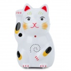 Maneki Neko Lucky Cat Wireless IR Motion Sensor Electronic Welcome Guest Doorbell - White (3 x AAA)