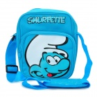 Cute The Smurfs Pattern Canvas Fabric One-Shoulder Bag - Blue