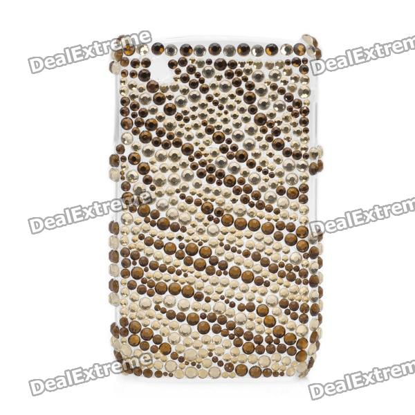 Shining Acrylic Rhinestone Protective Plastic Back Case for BlackBerry 8520 / 8530 - Golden + Brown shining acrylic diamond butterfly pattern plastic back case for blackberry 8520 8530 silver
