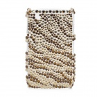 Shining Acrylic Rhinestone Protective Plastic Back Case for BlackBerry 8520 / 8530 - Golden + Brown