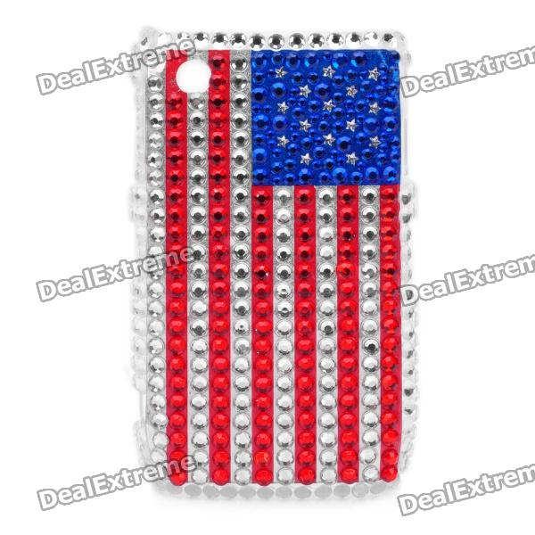 Shining Rhinestone US National Flag Pattern Protective Plastic Back Case for Blackberry 8520 / 8530 shining acrylic diamond butterfly pattern plastic back case for blackberry 8520 8530 silver
