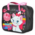 Cute Marie Cat Pattern Small Gadgets Storage Carrying Bag - Black + White + Red