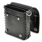 Cool Punk Style Dual Compartments Shoulder Bag w/ Skull Cross Decoration - Black