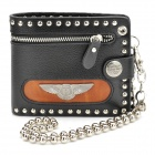 Cool Punk Style Metal Eagle Wings Genuine Cow Leather Wallet - Black