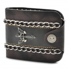 Cool Punk Style Metal Cross Genuine Cow Leather Wallet - Black
