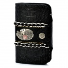 Cool Punk Style Metal Eagle Genuine Cow Leather Wallet - Black