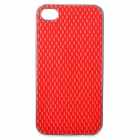 Protective Plastic + PU Leather Cover Case for iPhone 4 / 4S - Silver + Red
