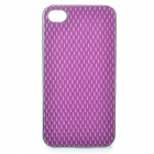 Protective Plastic + PU Leather Cover Case for Iphone 4 / 4S - Silver + Purple