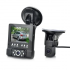 "L1000 2.8"" LCD 3MP Dual Camera HD 720P Car DVR + 4m Length External Camera"