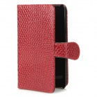 Protective Artificial Snake Leather Case w/ Plastic Back Holder for Samsung i9100 - Red
