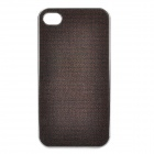 Shining PU Leather Cover Protective Plastic Back Case for Iphone 4 / 4S - Dark Coffee