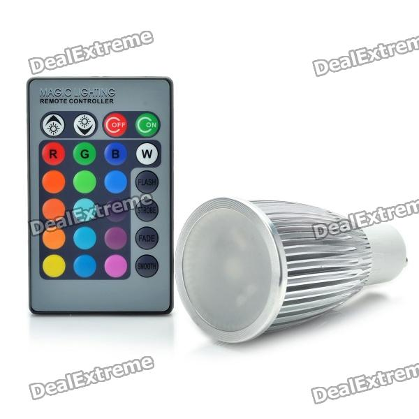 GU10 3W 1-LED Multi-Colored Light Bulb w/ Remote Control (AC 85~265V) 3w smd led 16 color light bulb with ir remote control 85 265v