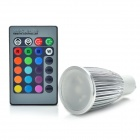GU10 3W 1-LED Multi-Colored Light Bulb w/ Remote Control (AC 85~265V)