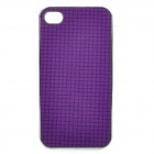 Shining PU Leather Cover Protective Plastic Back Case for Iphone 4 / 4S - Purple