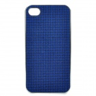 Shining PU Leather Cover Protective Plastic Back Case for Iphone 4 / 4S - Blue