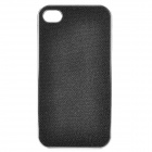Shining PU Leather Cover Protective Plastic Back Case for iPhone 4 / 4S - Black