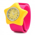 Star Style Silicone Band Quartz Wrist Watch - Yellow + Deep Pink (1 x 377OK)
