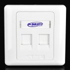 AMP JM-264 Dual RJ45 Computer Network Telephone Sockets Wall Plate - White (86 x 86mm)