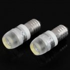 E10 1W 6500K 90LM 1-LED White Light Bulbs for Car - Pair (12V)