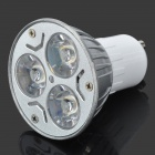 GU10 3W 240-270LM 3000-3500K Warm White 3-LED Spot Light Bulb - Silver + White (85~265V)