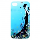 Joyroom Protective Bling Diamond PC Back Case w/ Screen Guards & Cloth Set for Iphone 4 / 4S - Blue