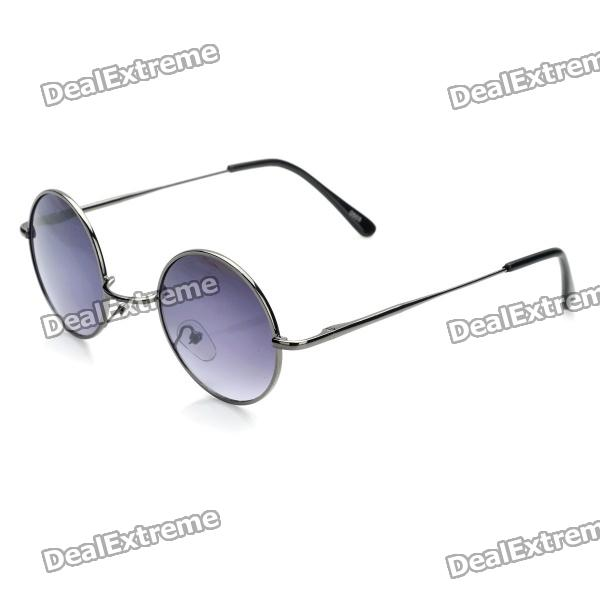 Fashion Cupronickel Frame Round Resin Lens UV 400 Protection Sunglasses - Silver Grey