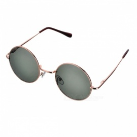 Fashion Cupronickel Frame Round Resin Lens UV 400 Protection Sunglasses - Golden